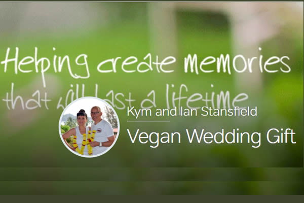 Kym Whittet and Ian Stansfield  Vegan Wedding Gift